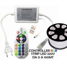 TELECOMANDO BOBINA STRISCIA STRIP LED RGB 220v DIMMER 100M CENTRALINA CONTROLLER