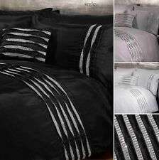 Crystal Diamante Detail Duvet Quilt Cover Bedding Set - White, Silver or Black
