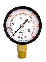 "2"" Utility Pressure Gauge - 1/4"" NPT Lower Mount, Black Steel Case, 0-300PSI"