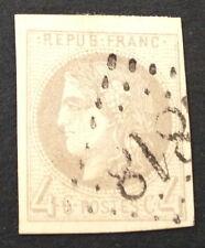 Timbre France, n°41Ba, 4c gris jaunatre, TB, Obl, cote 325e. Signe Calves