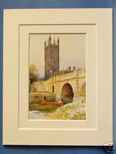 MAGDALEN BRIDGE AND TOWER OXFORD VINTAGE DOUBLE MOUNTED HASLEHUST PRINT c1930