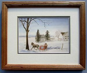 1988 Susie Riehl - Amish Print Sleigh Ride - Signed!