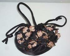 Black Satin Pouch Evening Bag with Beaded Ecru and Black Flowers, Beautiful