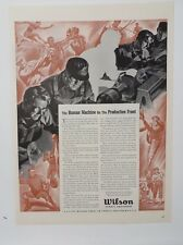 Original Print Ad 1943 WILSON Sports Equipment Human Machine Production Front