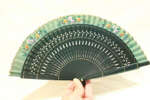 Old Chinese Fan in Green and Golden Wood and Hand Painted Flower Cloth