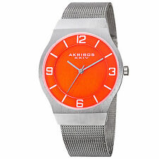 Men's Akribos XXIV AK851OR Classic Orange Dial Silver-tone Mesh Bracelet Watch