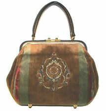 VELOUR Brown Multi Kelly Handbag Purse Vintage