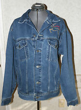 Womens Blue Jean Denim Jacket Embroidered REINDEER Sz S Holiday spirit always