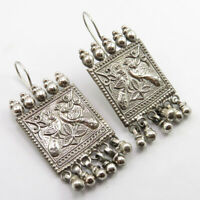 925 Pure Silver CHUNKY 2.2 Inches PEACOCK OLD STYLE Dangle EARRINGS New ej