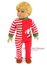 CHRISTMAS HOLIDAY Striped Pajamas for 18 inch American Girl or Boy Doll Clothes