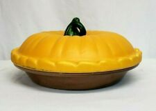"""Vintage Covered PUMPKIN PIE Deep 10"""" Dish Plate & Cover KEEPER Server PORTUGAL"""