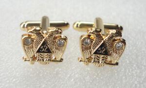 Pre-Owned Freemason Scottish Rite 32 degree Eagle Cuff links Crystals #363