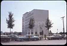 Old Cars Parked at Veterans Memorial Building Detroit MI Vtg 1950s Slide Photo