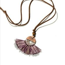 Anthropologie Urban Brown Suede Purple Tassel Copper Patina Boho Necklace
