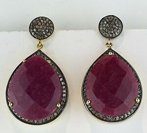 1.76cts Natural Pave Diamond Ruby 18K Gold Vermeil 925 Silver Dangle Earrings