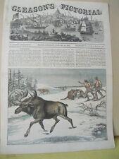 Vintage Print,MOOSE HUNTING,Gleasons Cover,Jan28,1854
