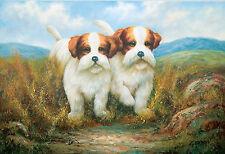Malteser Havaneser Hunde, Welpen - Paar, Ölmalerei Leinwand, 60 x 91 cm,  Gordon
