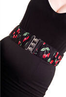 HELL BUNNY Black 50s Waist BELT Rockabilly Elasticated CHERRY POP All Sizes