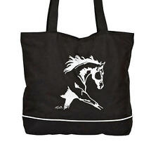 "Tote Bag with ""Lila"" Dressage Horse Design-Black"