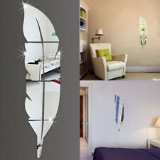 E3A2 3D Feather Plume Mirror Wall Vinyl Decal Sticker Art Room Mural Decor DIY