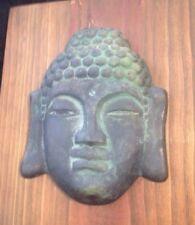 Beautiful Bronze Buddha Head Sakyamuni Mounted On Teak Wood Wall Art Estate
