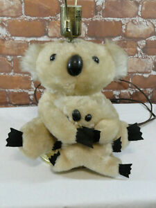 Vintage HomeMade? *Koala Plush Teddy Bear Mom & Baby LAMP*~works great~unique