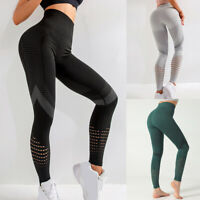 Damen Leggins Yogahose Mesheinsatz Netz Leggings Hose Jogginghose Tights❤️