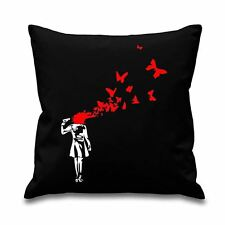 """Banksy Butterfly Suicide 18"""" x 18"""" Filled Sofa Throw Cushion"""