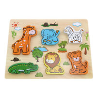 Kids Puzzle Early Education Wooden Hand Grasping Board Toy Developmental B