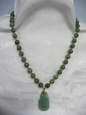 LOVELY VINTAGE JADE BEADS w/14K CLASP, BEADS & BALE HOLDING JADE CARVED PENDANT