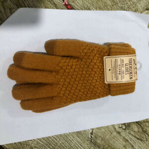Men's Fall Winter Knitted Warm Stretch Gloves Touch Screen Anti-slip Mittens