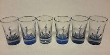 (6) NEW NAUTICAL ANCHOR ROPE SHOT GLASSES with BLUE BOTTOMS & GOLD TRIM