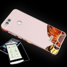 Aluminum Bumper 2-piece Pink + 0,3 H9 Tempered Glass for Huawei Honor 7X Pouch