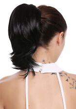 Haarteil Zopf Extension Butterfly-Klammer kurz breit volumen glatt schwarz 30cm