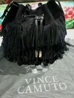 Vince Camuto Joni Black Suede Tote Bag