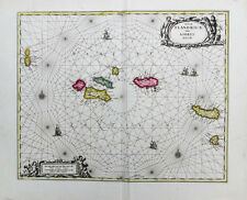 c1700 Azoren Acores Portugal Kolorierte Kupferstich-Landkarte