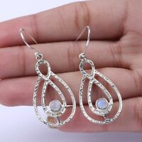 Handmade 925 Solid Sterling Silver Jewelry Moonstone Gemstone Dangle Earrings