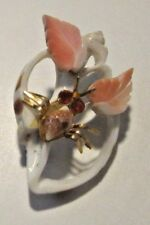 Vintage carved sea Shell with Insect bug 2 Leaves brooch pin 2""