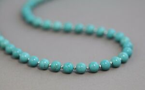 """TURQUOISE COLOURED HOWLITE  & SILVER BEADS NECKLACE ~ 20"""" IN LENGTH"""