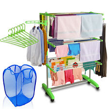 Kawachi Mild Steel Cloth Drying Stand Green Color with Laundry Bag & Hangers C93