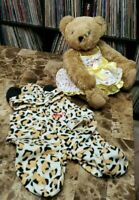 Authentic Vermont Jointed Teddy Bear Handmade in Vermont with Sun Dress and PJ's