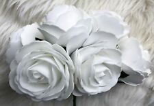 6 White Poly Foam Top Quality Large Roses 9cm Wedding Flowers, Table Decorations