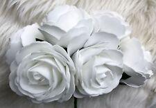 6 Bianco Poly schiuma di alta qualità grandi rose 9cm Nozze Fiori, Decorazioni Tavola