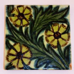 """Original William De Morgan Arts and Crafts Ceramic 5"""" Tile"""
