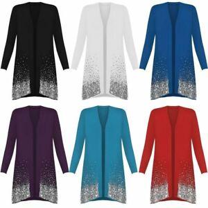 Womens Long Sleeve Open Front Sequin Top Ladies Fancy Dress Sparkle Cardigan