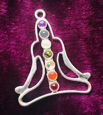 Silver Plated Buddha Pendant & Gemstones & FREE Chain -Boho, Chakra, Ladies Gift