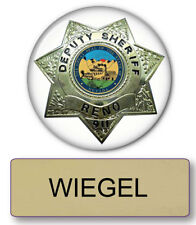 "RENO 911 WIEGEL NAME BADGE & DEPUTY 3"" BUTTON HALLOWEEN COSTUME PIN BACK"
