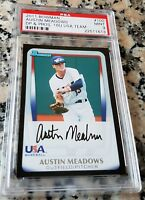 AUSTIN MEADOWS 2011 Bowman BLACK #1 Draft Pick Rookie Card RC PSA 9 Tampa Rays