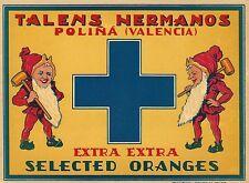 """RARE OLD ORIGINAL 1920 HAPPY ELVES """"TALENS HERMANOS"""" ORANGE LABEL VALENCIA SPAIN"""
