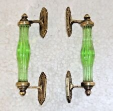 Vintage Rare Original Victorian Green Cut Glass Long Door Handle set of 2